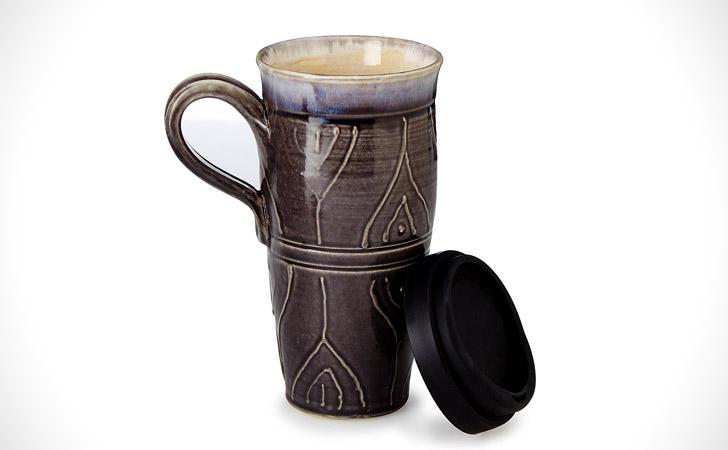 Stoneware Travel Coffee Mug