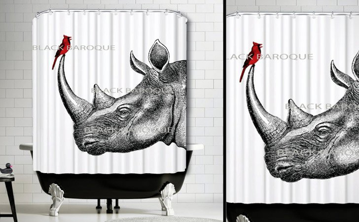 The Rhino And Cardinal Shower Curtain
