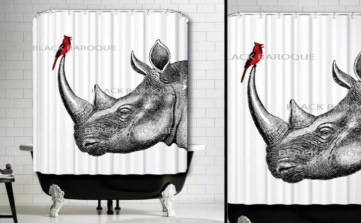 The Rhino And Cardinal Shower Curtain