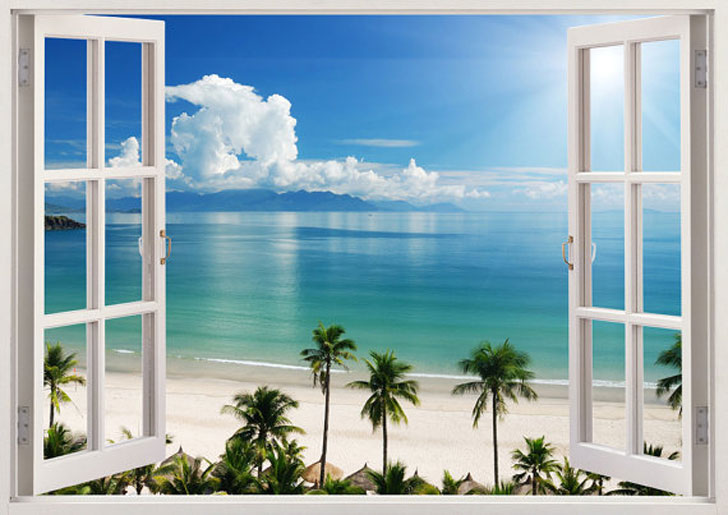 Tropical Beach Window Sticker