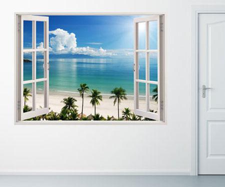 Tropical Beach Window Sticker