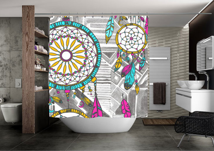 Vibrant Hippie Dream Catcher Shower Curtain