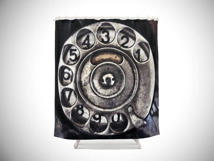Vintage Mid Century Phone Shower Curtain