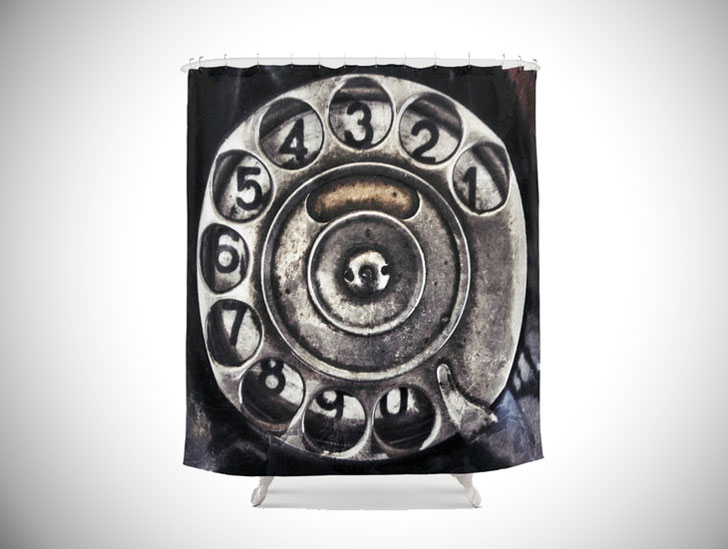 Vintage Mid Century Phone Shower Curtain