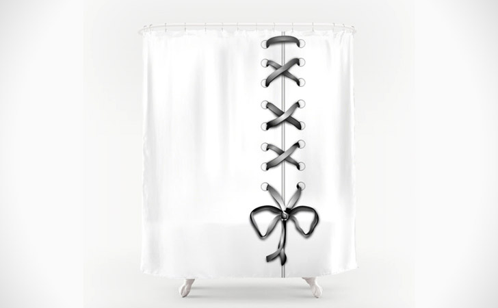 White Laced Gray Ribbon Shower Curtain - coolest shower curtains