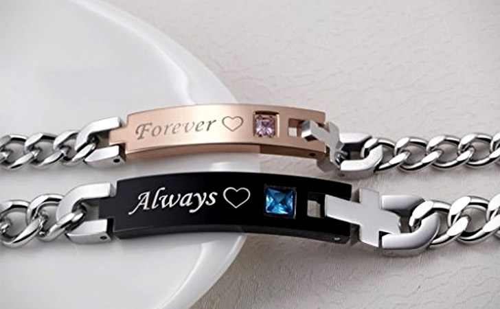 Always And Forever Matching Stainless Steel Bracelets