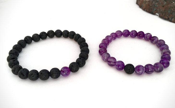 Amethyst And Lava Stone Couples Relationship Bracelets - Matching Bracelets For Couples