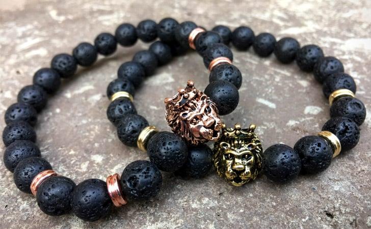 Beaded Lion Bracelet Set Gold & Rose Gold - Matching Bracelets For Couples