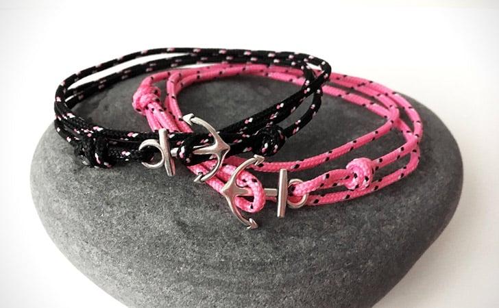 Black And Pink Minimalist Nautical Theme Couples Bracelet Set