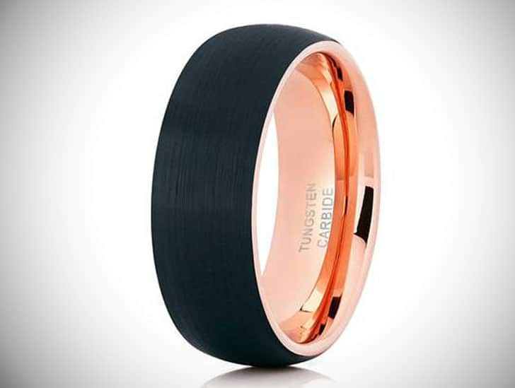 Black & Rose Gold Tungsten Carbide Ring