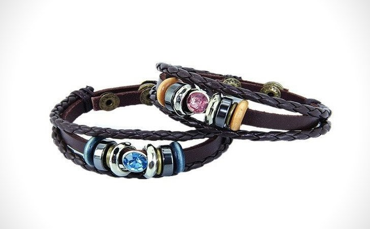 Braided Leather Crystal Set