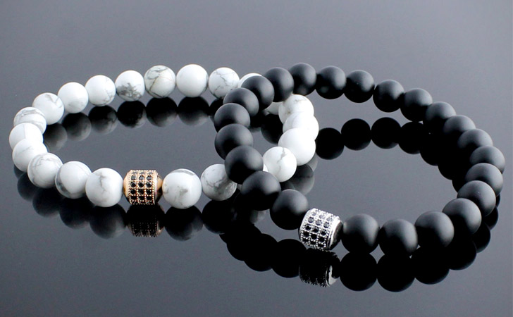 Couples Micro Pave Bracelet Onyx And Howlite Beads