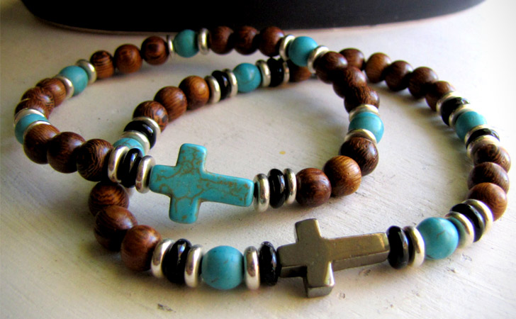 Couples Turquoise Religious Cross Bracelet Set