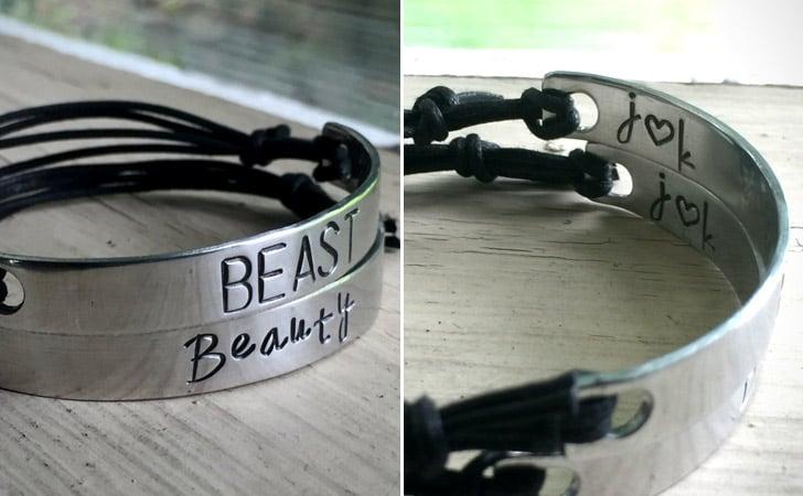 Custom Initial Beauty Beast Bracelets - Matching Bracelets For Couples