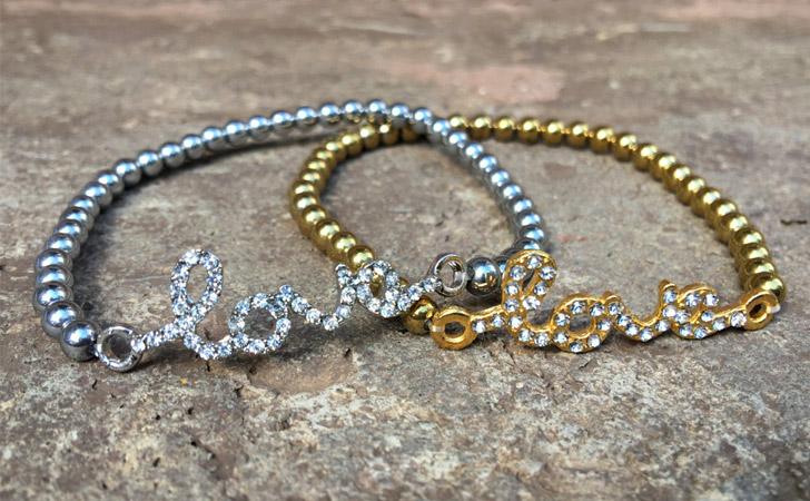 Gold N Silver Beaded Love Bracelets