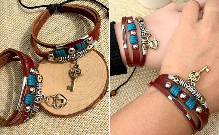 Heart Lock And Key Bracelet Set - Matching Bracelets For Couples