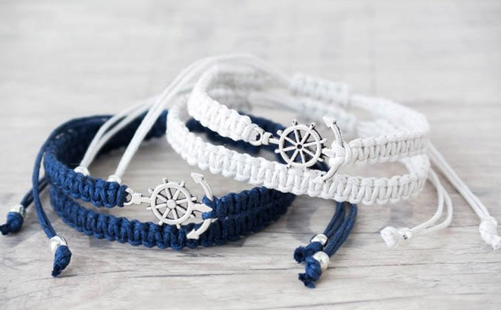 His And Hers Anchor Nautical Theme Bracelet Set - Matching Bracelets For Couples