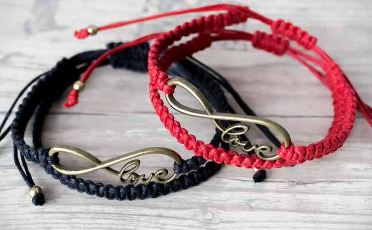 His And Hers Red And Black Infinity Love Bracelet Set