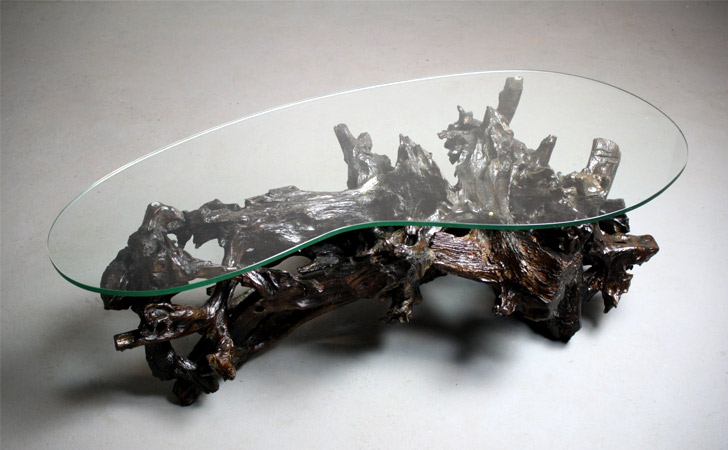 Kidney Shaped Driftwood Coffee Table