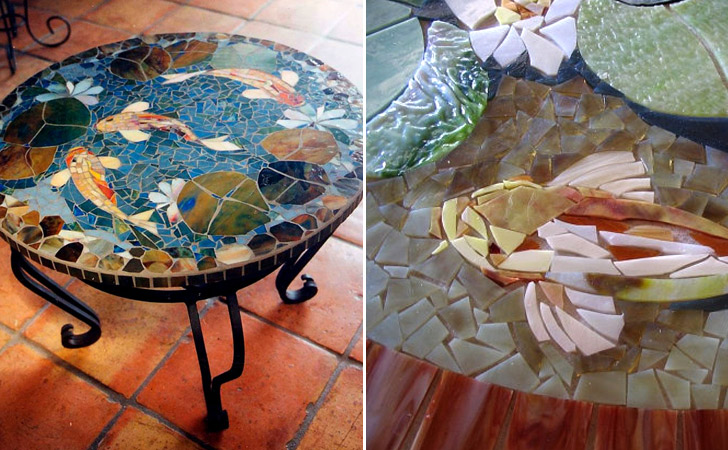 Koi Fish Mosaic Coffee Table