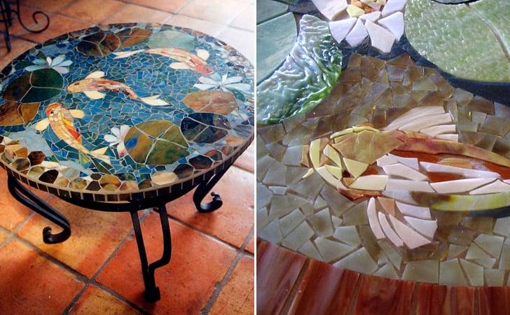 Koi Fish Mosaic Coffee Table