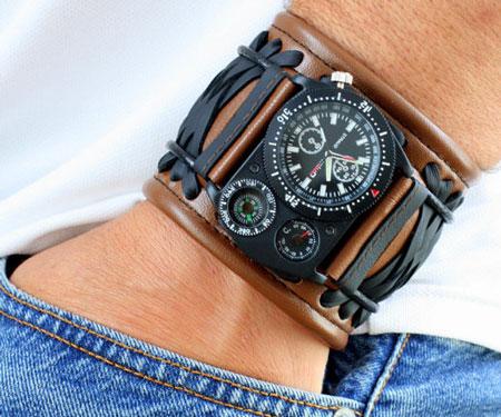 Leather Steampunk Voyager Wristwatch Bracelet