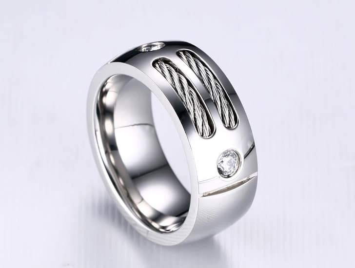 Men's Stainless Steel Wire Cubic Zirconia Ring
