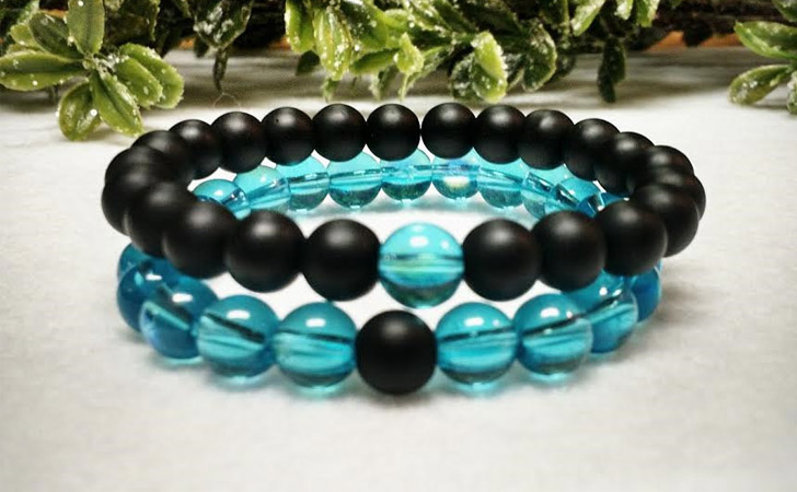 Onyx & Aqua Ab Glass Long Distance Relationship Bracelets - Matching Bracelets For Couples