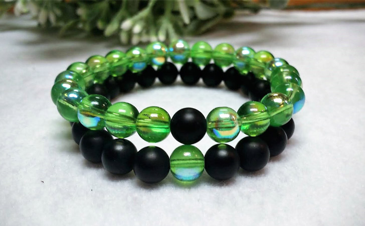 Onyx & Green AB Glass Couples Bracelets - Matching Bracelets For Couples