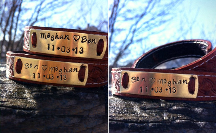 Personalized Brown Patterned Leather Bracelets