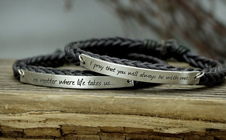 Personalized Love Quotes Skinny Bar Bracelets