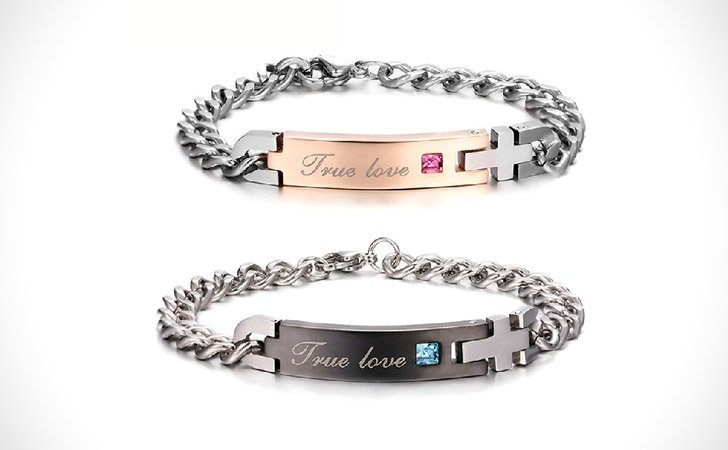 Personalized Titanium Cross True Love Bracelets