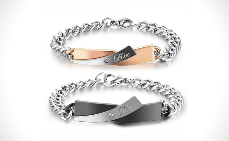Personalized Titanium Love Theme Set - Matching Bracelets For Couples