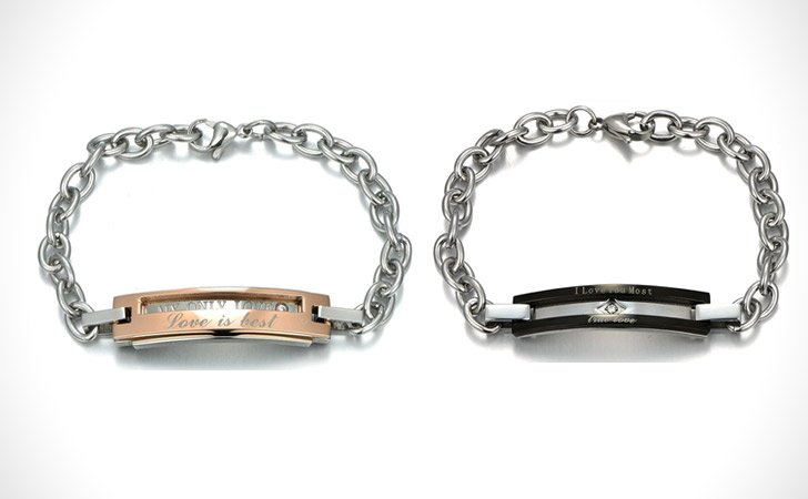 Personalized Titanium Steel And Rose Gold Couples Bracelet Set