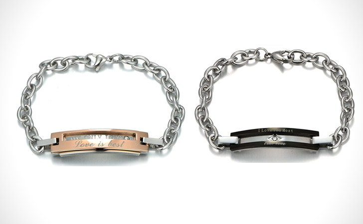 Personalized Titanium Steel And Rose Gold Couples Bracelet Set
