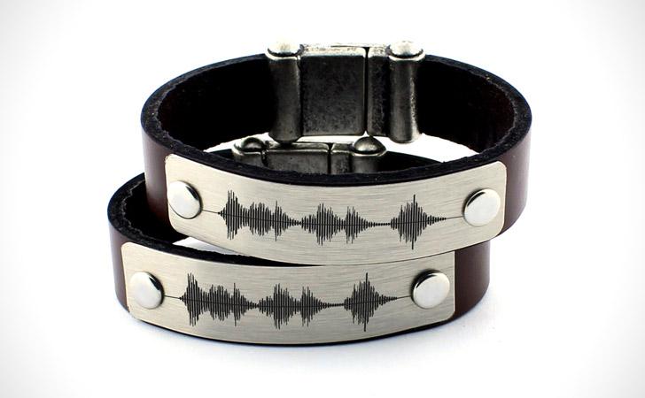 Personalized Voice Recording Sound Wave Bracelet Set - Matching Bracelets For Couples