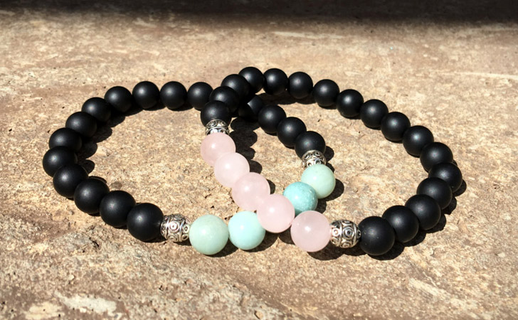 Pink And Blue Beaded Relationship Bracelets - Matching Bracelets For Couples