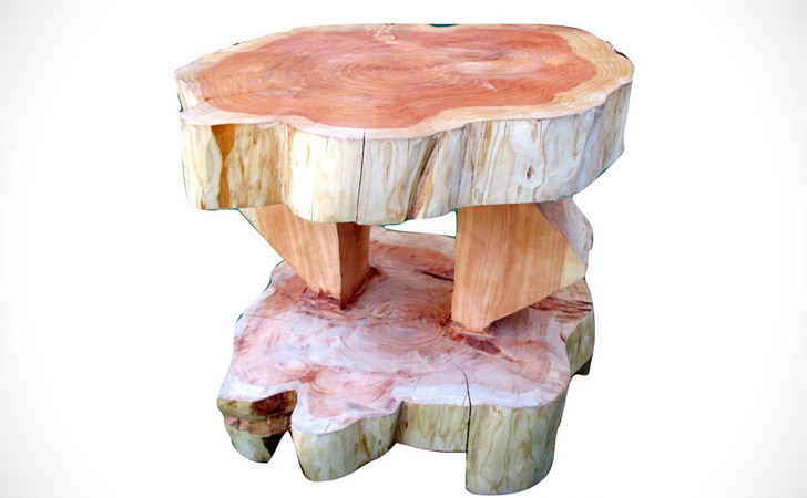 Pink Cypress Tree Trunk Coffee Table