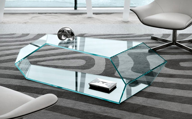 Polygonal Glass Coffee Table