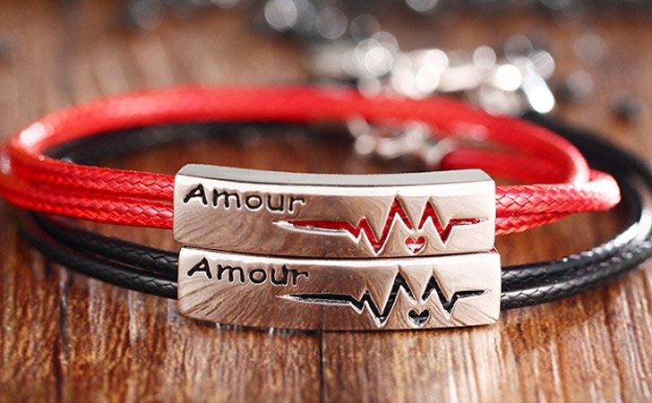Red N Black Sterling Silver Heart Beat Couples Bracelet - Matching Bracelets For Couples