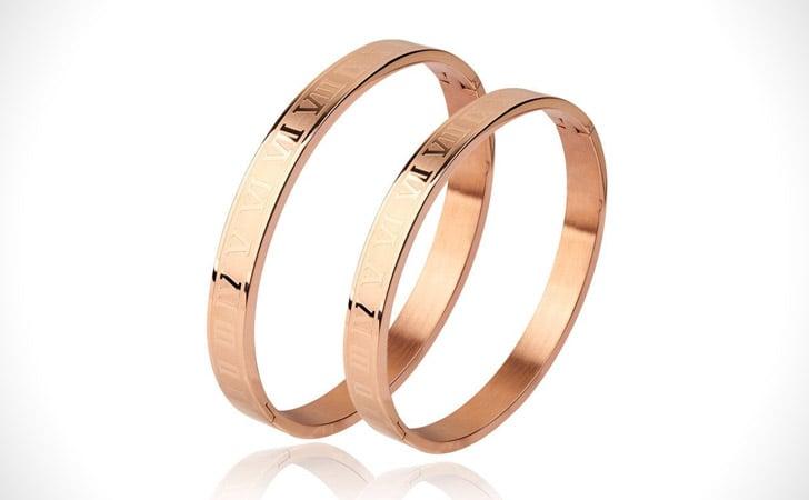 Roman Numerals Cuff Couples Bracelet Set