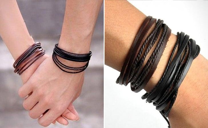 Simplistic Braided Leather Couples Bracelets