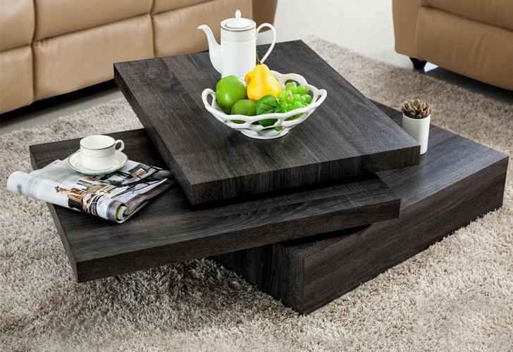 Square Rotating Oak Coffee Table