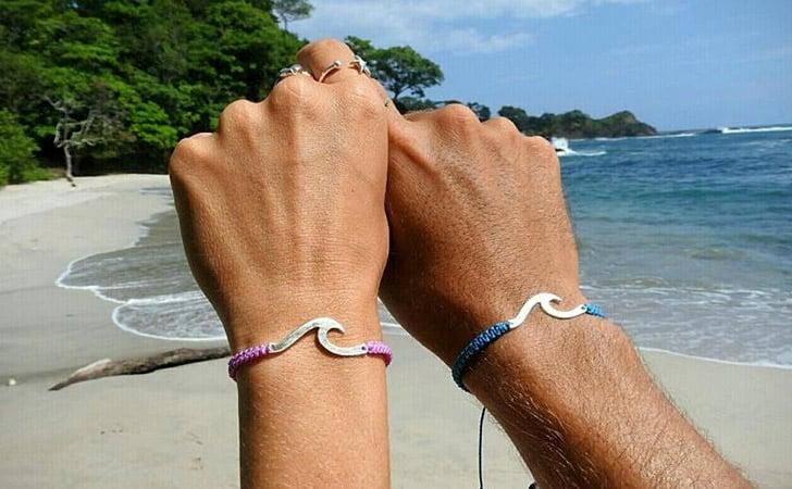 Sterling Silver Surfer Couples Bracelet Set - Matching Bracelets For Couples