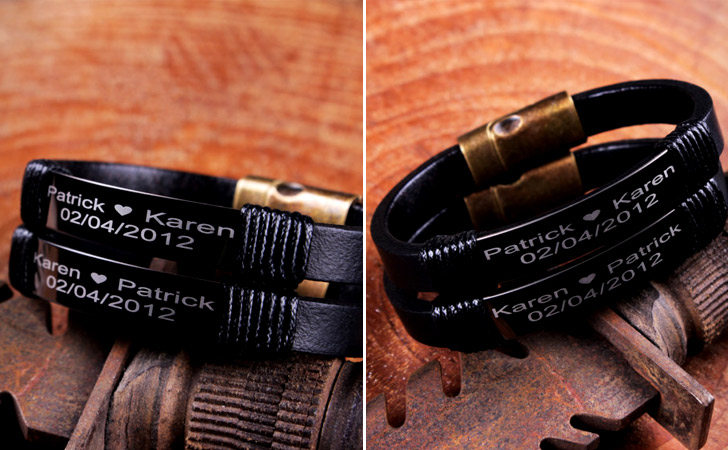 Stylish Matte Black Personalized Set - Matching Bracelets For Couples