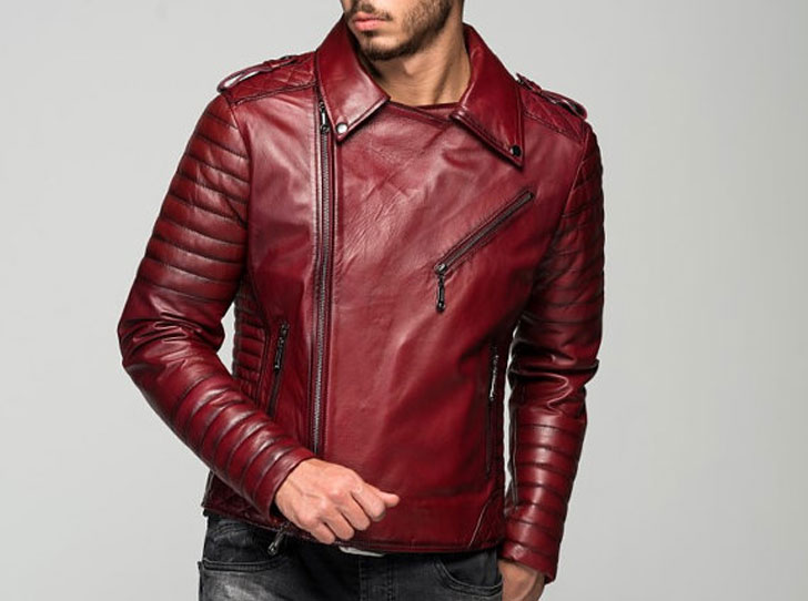 Stylish Men's Borvona Claret Red Leather Jacket
