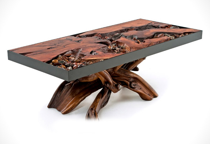 The River Coffee Table With Pebbles