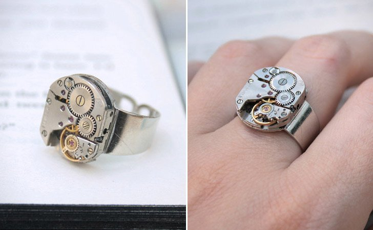 Delightful The Steampunk Cogs Ring   Cool Rings For Men