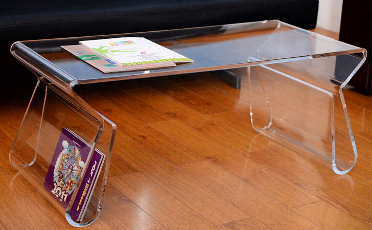 Transparent Side Trays Coffee Table