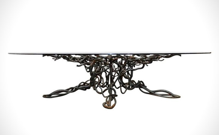 Twisted Iron Tree Root Coffee Table
